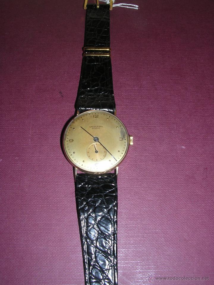 ANTIGUO RELOJ DE PULSERA CARGA MANUAL ORO 18 KL. MARCA UNIVERSAL GENEVE . ESTADO DE MARCHA 4X3,5 CM. (Relojes - Pulsera Carga Manual)