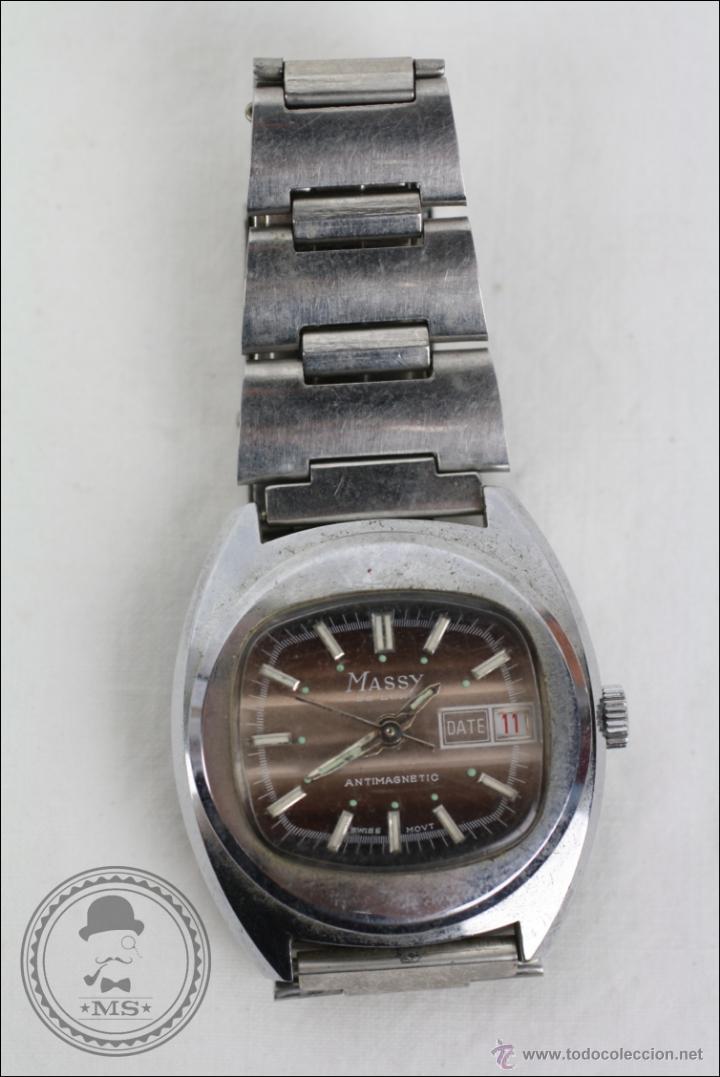 RELOJ DE PULSERA MASCULINO MASSY DE LUXE - PIEZAS O RESTAURACIÓN - PLATEADO - CAJA 35 MM DIÁMETRO (Relojes - Pulsera Carga Manual)