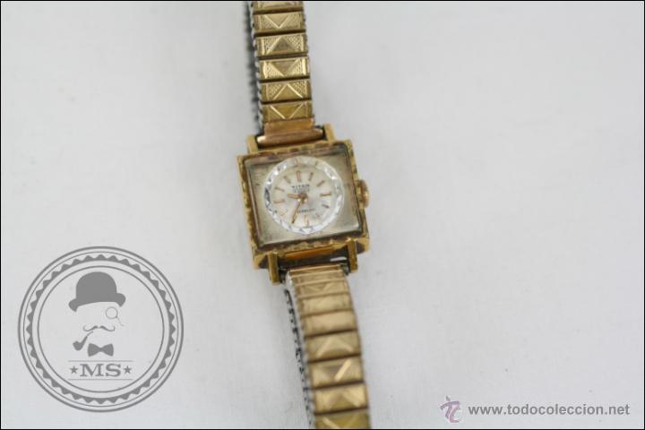 Relojes de pulsera: Reloj de Pulsera Femenino Titan - Manual - Correa Eslabones. Dorado - Caja 16 x 16 Mm - Foto 2 - 45145870