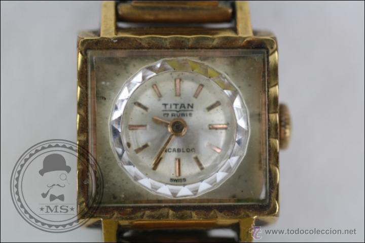 Relojes de pulsera: Reloj de Pulsera Femenino Titan - Manual - Correa Eslabones. Dorado - Caja 16 x 16 Mm - Foto 3 - 45145870