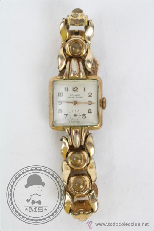 RELOJ DE PULSERA FEMENINO GALANT - MANUAL. PIEZAS O RESTAURACIÓN - DORADO - CAJA 22 X 22 MM (Relojes - Pulsera Carga Manual)