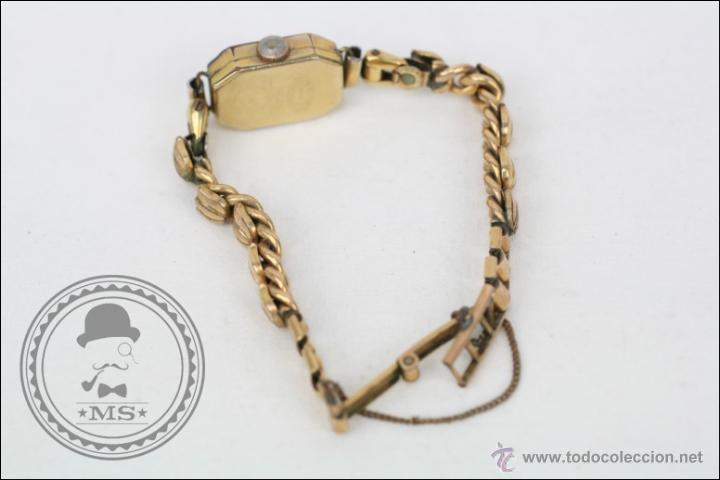 Relojes de pulsera: Reloj de Pulsera Femenino Portus - Manual. Piezas o Restauración - Chapado en Oro - Caja 21 x 15 Mm - Foto 4 - 45146615