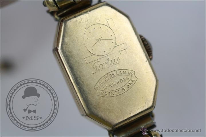 Relojes de pulsera: Reloj de Pulsera Femenino Portus - Manual. Piezas o Restauración - Chapado en Oro - Caja 21 x 15 Mm - Foto 5 - 45146615