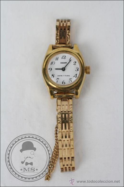 RELOJ DE PULSERA FEMENINO VADUR - MANUAL. FUNCIONA - DORADO - CAJA 20 MM DE DIÁMETRO (Relojes - Pulsera Carga Manual)