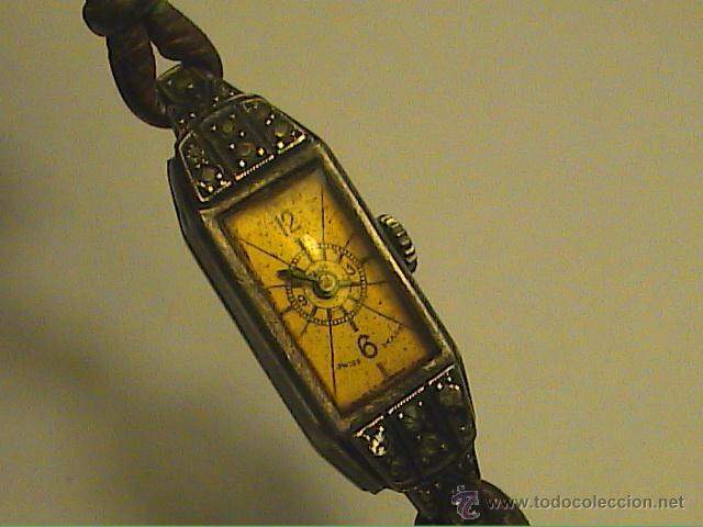 RELOJ PULSERA DE DAMA MARCA KJ.SWISS MADE. EN PLATA Y PEDRERIA. 1915. (Relojes - Pulsera Carga Manual)