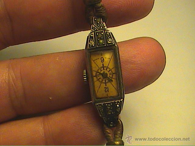 Relojes de pulsera: RELOJ PULSERA DE DAMA MARCA KJ.SWISS MADE. EN PLATA Y PEDRERIA. 1915. - Foto 9 - 45841210