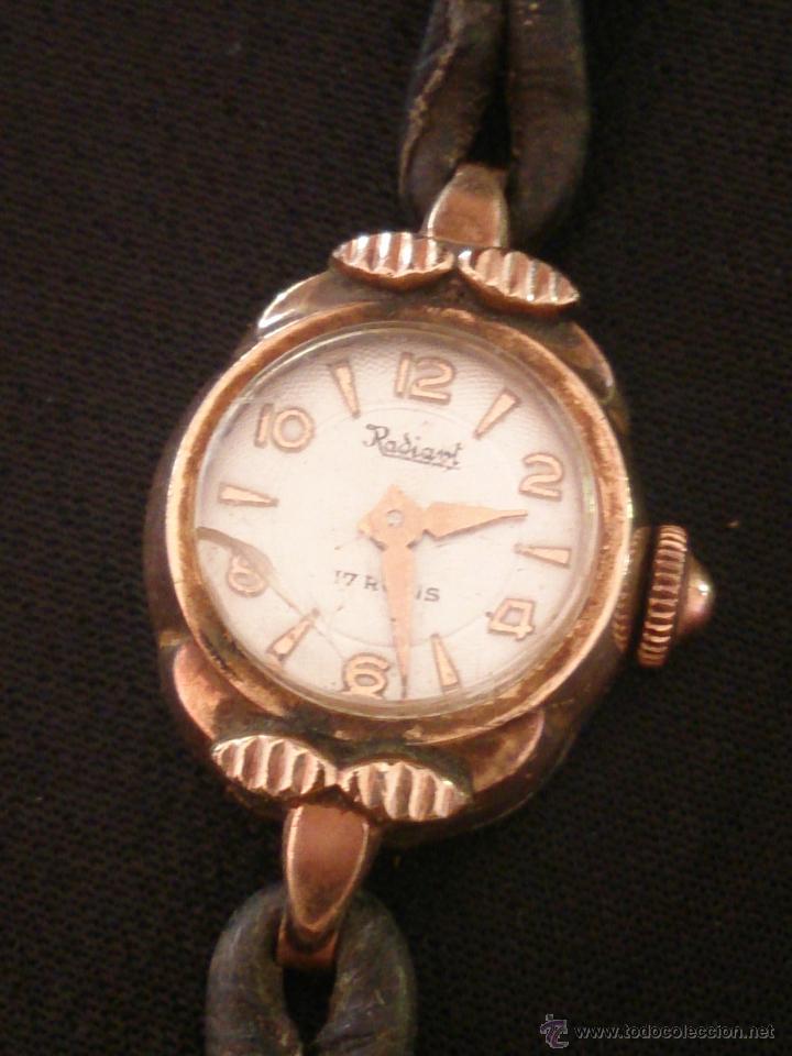 Relojes de pulsera: Reloj de pulsera Radiant de carga manual. Chapado oro. - Foto 3 - 47556071