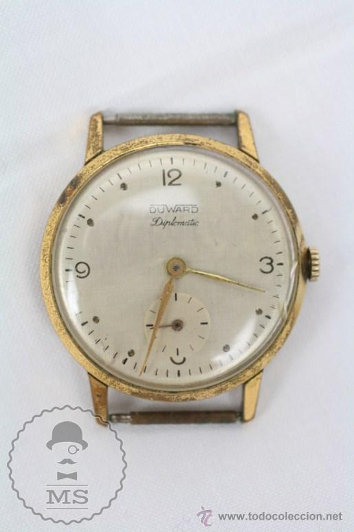 CAJA DE RELOJ DE PULSERA DUWARD DIPLOMATIC - MOVIMIENTO MANUAL - FUNCIONANDO - MEDIDAS 34 MM DIÁM (Relojes - Pulsera Carga Manual)