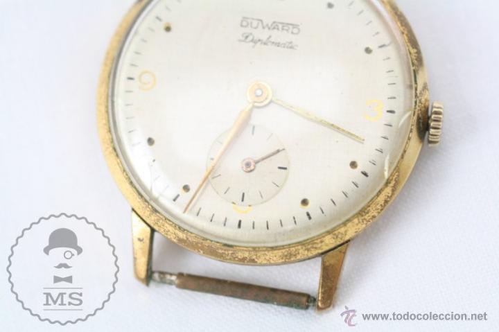 Relojes de pulsera: Caja de Reloj de Pulsera Duward Diplomatic - Movimiento Manual - Funcionando - Medidas 34 Mm Diám - Foto 3 - 48628482