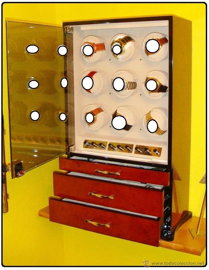 Relojes de pulsera: 2 VITRINAS WATCHS-WINDER MADERA RAÍZ, LUJO.....9 RELOJES. CAJONES, CIERRES, LLAVES. - Foto 3 - 50454816