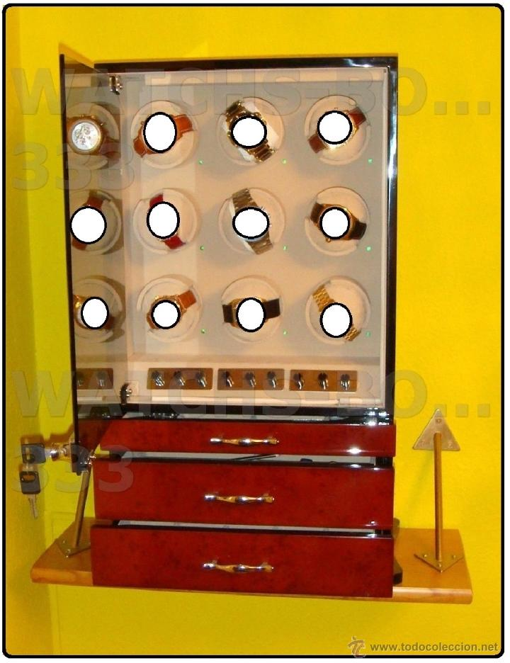 Relojes de pulsera: 2 VITRINAS WATCHS-WINDER MADERA RAÍZ, LUJO.....9 RELOJES. CAJONES, CIERRES, LLAVES. - Foto 4 - 50454816