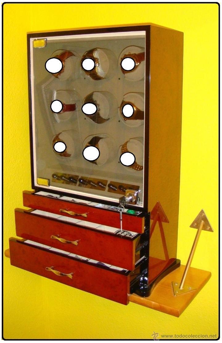 Relojes de pulsera: 2 VITRINAS WATCHS-WINDER MADERA RAÍZ, LUJO.....9 RELOJES. CAJONES, CIERRES, LLAVES. - Foto 5 - 50454816