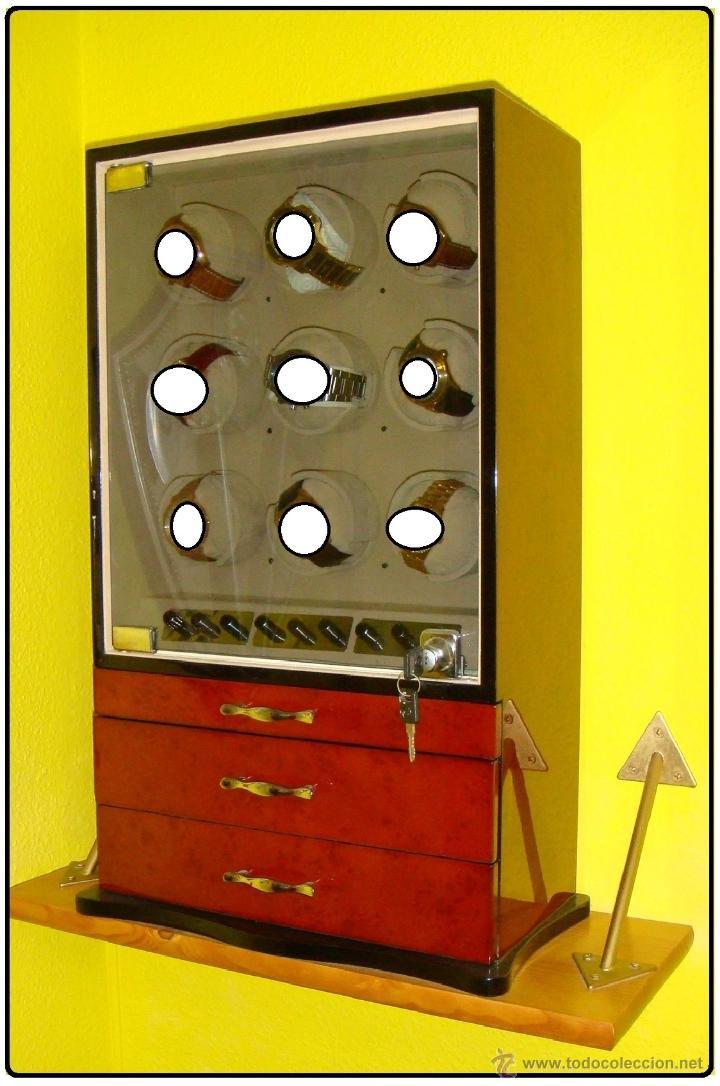 Relojes de pulsera: 2 VITRINAS WATCHS-WINDER MADERA RAÍZ, LUJO.....9 RELOJES. CAJONES, CIERRES, LLAVES. - Foto 6 - 50454816