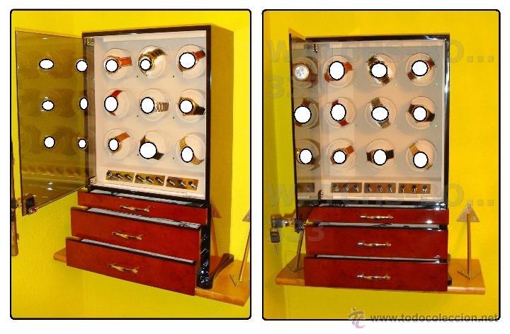 Relojes de pulsera: 2 VITRINAS WATCHS-WINDER MADERA RAÍZ, LUJO.....9 RELOJES. CAJONES, CIERRES, LLAVES. - Foto 7 - 50454816