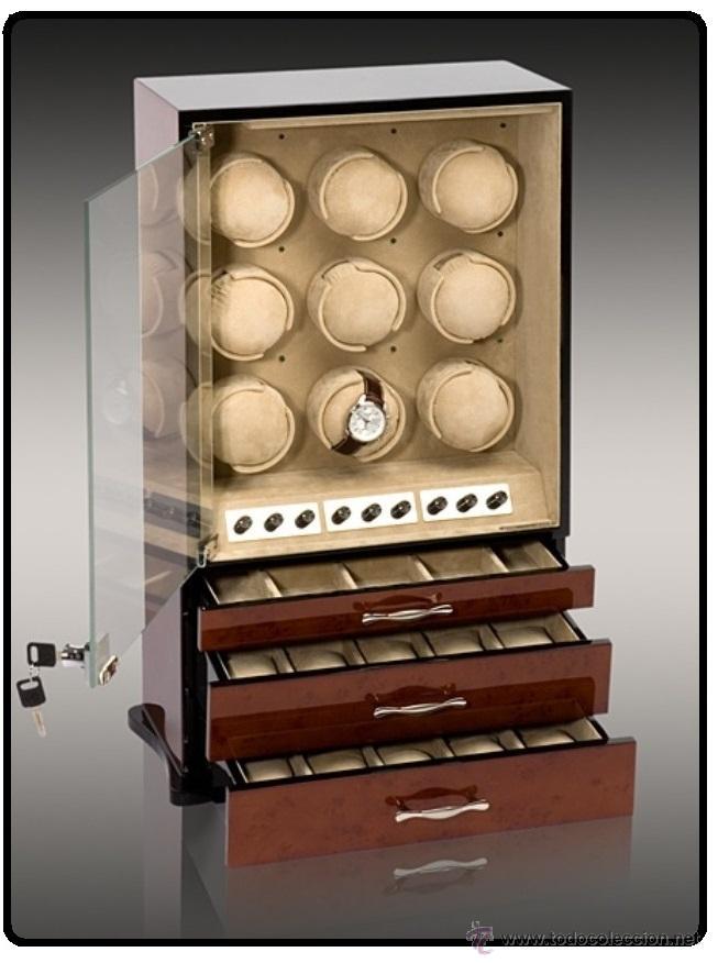 Relojes de pulsera: 2 VITRINAS WATCHS-WINDER MADERA RAÍZ, LUJO.....9 RELOJES. CAJONES, CIERRES, LLAVES. - Foto 9 - 50454816