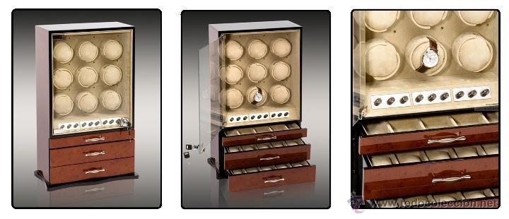 Relojes de pulsera: 2 VITRINAS WATCHS-WINDER MADERA RAÍZ, LUJO.....9 RELOJES. CAJONES, CIERRES, LLAVES. - Foto 12 - 50454816