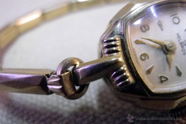 ANTIGUO RELOJ DE PULSERA, DAMA, MARCA HELBROS, A REPARAR, CHAPADO EN ORO (Relojes - Pulsera Carga Manual)