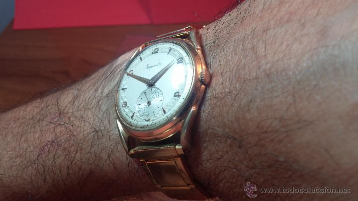Relojes de pulsera: Especimen in OF, reloj Suizo VIntage Lanco Imperator, gran tamaño, a cuerda y de 15 rubís - Foto 6 - 99052444