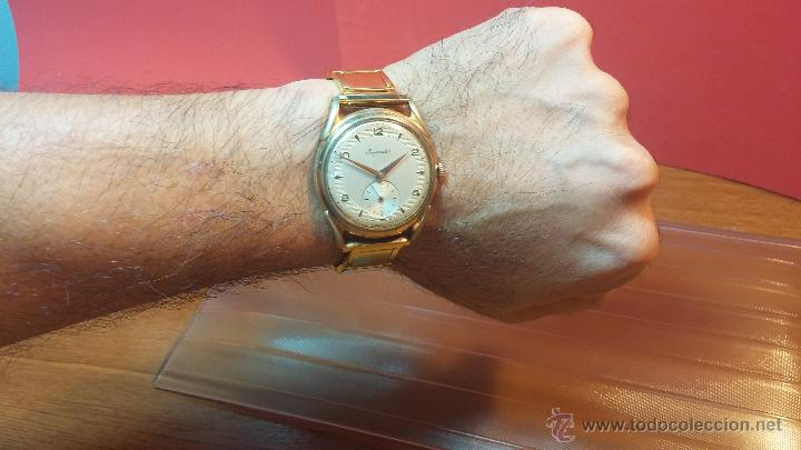 Relojes de pulsera: Especimen in OF, reloj Suizo VIntage Lanco Imperator, gran tamaño, a cuerda y de 15 rubís - Foto 8 - 99052444