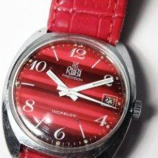 Relojes de pulsera: RELOJ CABALLERO RUBI PRECISION INCABLOCK SWISS MADE 17 JEWELLS 35MM CON CALENDARIO. Lote 53064667