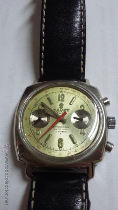 Relojes de pulsera: RELOJ CAUNY SWISS CRONOMETRO WATERPROOF ANTICHOC 17 RUBIS - Foto 6 - 53178252