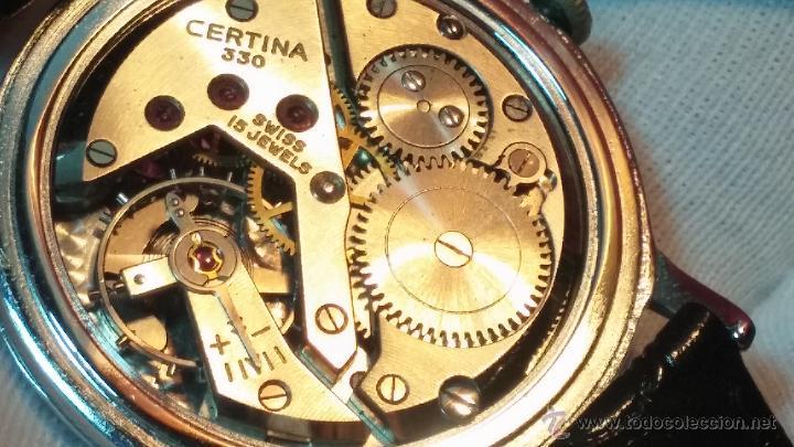 Relojes de pulsera: Raro reloj Certina Kurth Freres, calibre 330, de 15 rubíes y con UN muy curioso logo terminado en V - Foto 4 - 53754493