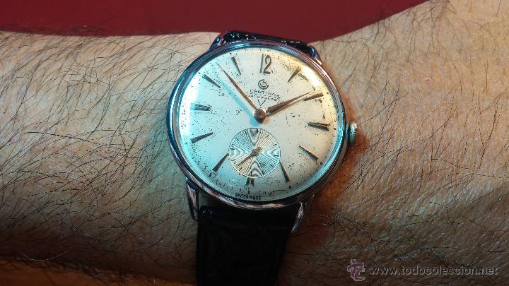 Relojes de pulsera: Raro reloj Certina Kurth Freres, calibre 330, de 15 rubíes y con UN muy curioso logo terminado en V - Foto 12 - 53754493