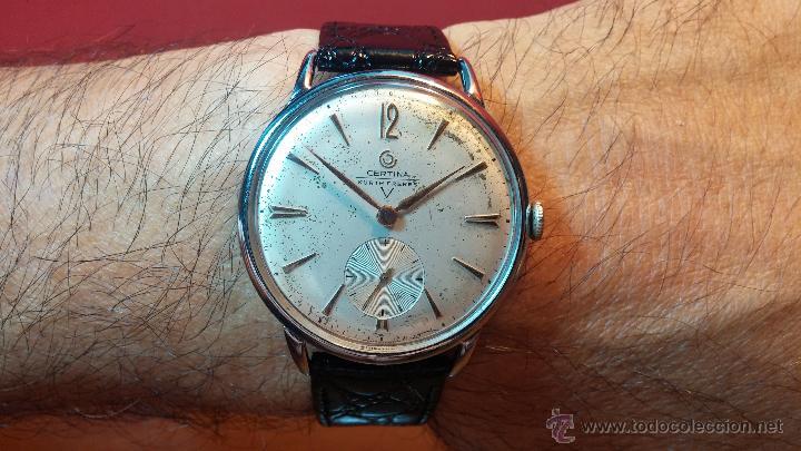 Relojes de pulsera: Raro reloj Certina Kurth Freres, calibre 330, de 15 rubíes y con UN muy curioso logo terminado en V - Foto 20 - 53754493