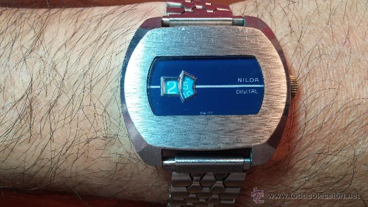 Relojes de pulsera: Reloj Suizo NILDA de cuerda DIGITAL, años 70, de los primeros digitales de carga manual - Foto 2 - 66126355
