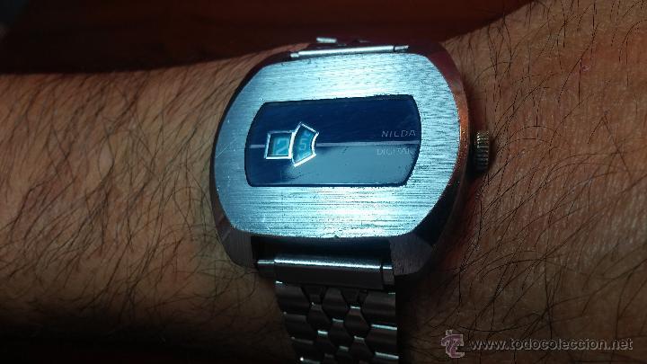 Relojes de pulsera: Reloj Suizo NILDA de cuerda DIGITAL, años 70, de los primeros digitales de carga manual - Foto 3 - 66126355