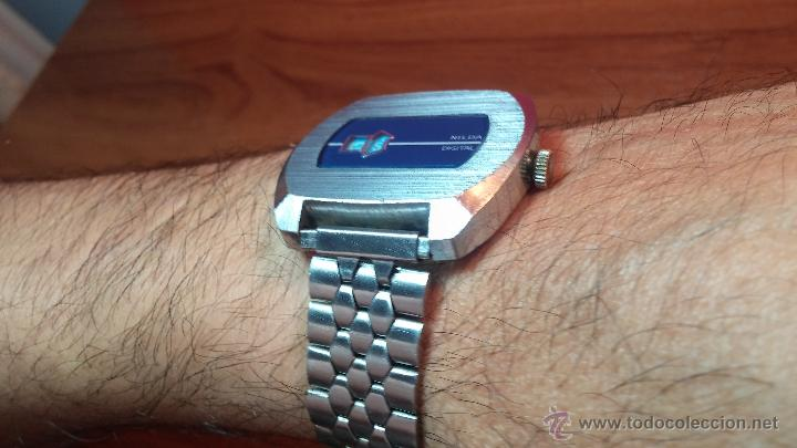 Relojes de pulsera: Reloj Suizo NILDA de cuerda DIGITAL, años 70, de los primeros digitales de carga manual - Foto 4 - 66126355