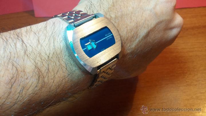 Relojes de pulsera: Reloj Suizo NILDA de cuerda DIGITAL, años 70, de los primeros digitales de carga manual - Foto 7 - 66126355