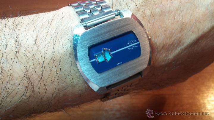 Relojes de pulsera: Reloj Suizo NILDA de cuerda DIGITAL, años 70, de los primeros digitales de carga manual - Foto 8 - 66126355