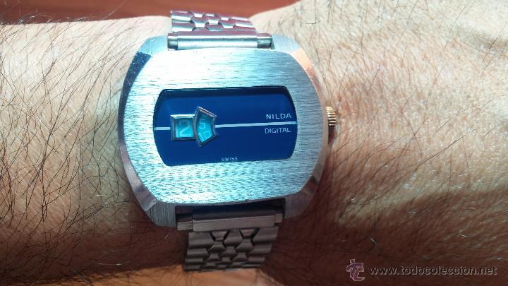Relojes de pulsera: Reloj Suizo NILDA de cuerda DIGITAL, años 70, de los primeros digitales de carga manual - Foto 14 - 66126355