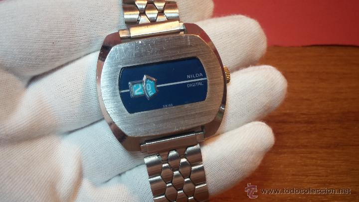 Relojes de pulsera: Reloj Suizo NILDA de cuerda DIGITAL, años 70, de los primeros digitales de carga manual - Foto 17 - 66126355