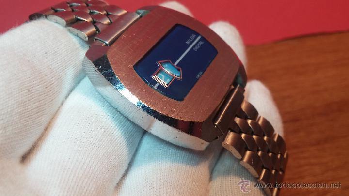 Relojes de pulsera: Reloj Suizo NILDA de cuerda DIGITAL, años 70, de los primeros digitales de carga manual - Foto 18 - 66126355