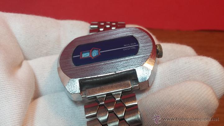 Relojes de pulsera: Reloj Suizo NILDA de cuerda DIGITAL, años 70, de los primeros digitales de carga manual - Foto 20 - 66126355