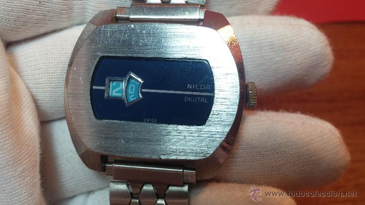 Relojes de pulsera: Reloj Suizo NILDA de cuerda DIGITAL, años 70, de los primeros digitales de carga manual - Foto 21 - 66126355