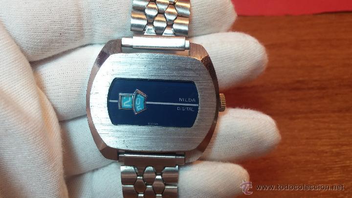 Relojes de pulsera: Reloj Suizo NILDA de cuerda DIGITAL, años 70, de los primeros digitales de carga manual - Foto 22 - 66126355