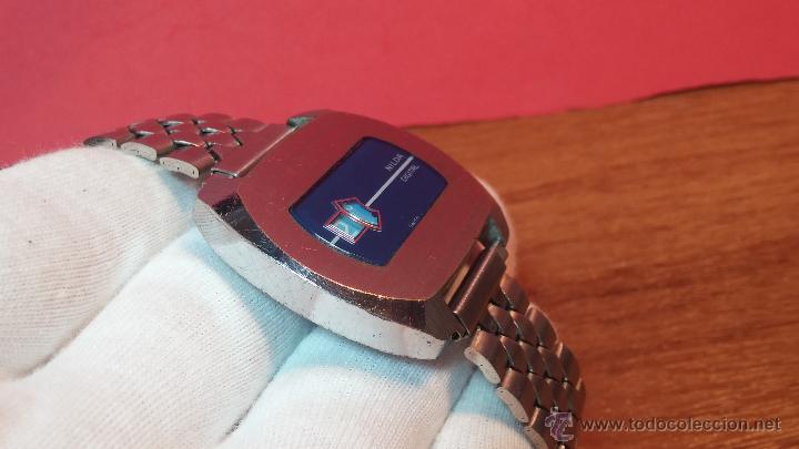 Relojes de pulsera: Reloj Suizo NILDA de cuerda DIGITAL, años 70, de los primeros digitales de carga manual - Foto 25 - 66126355