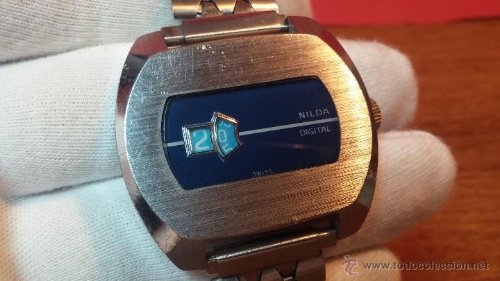 Relojes de pulsera: Reloj Suizo NILDA de cuerda DIGITAL, años 70, de los primeros digitales de carga manual - Foto 26 - 66126355
