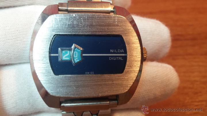 Relojes de pulsera: Reloj Suizo NILDA de cuerda DIGITAL, años 70, de los primeros digitales de carga manual - Foto 27 - 66126355