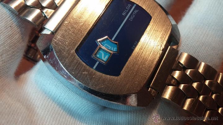 Relojes de pulsera: Reloj Suizo NILDA de cuerda DIGITAL, años 70, de los primeros digitales de carga manual - Foto 33 - 66126355