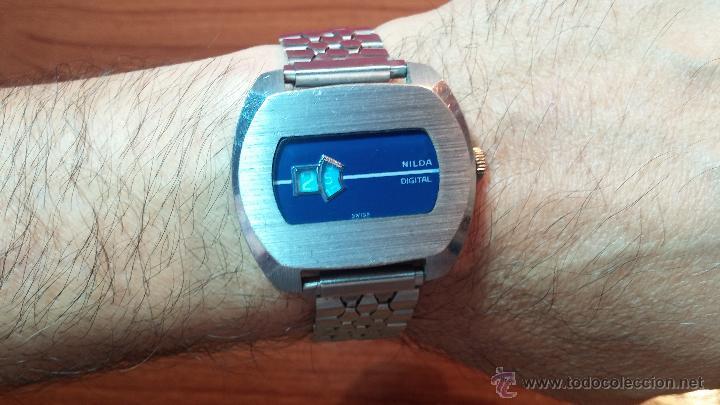 Relojes de pulsera: Reloj Suizo NILDA de cuerda DIGITAL, años 70, de los primeros digitales de carga manual - Foto 43 - 66126355