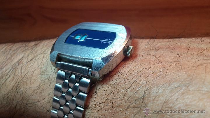 Relojes de pulsera: Reloj Suizo NILDA de cuerda DIGITAL, años 70, de los primeros digitales de carga manual - Foto 45 - 66126355