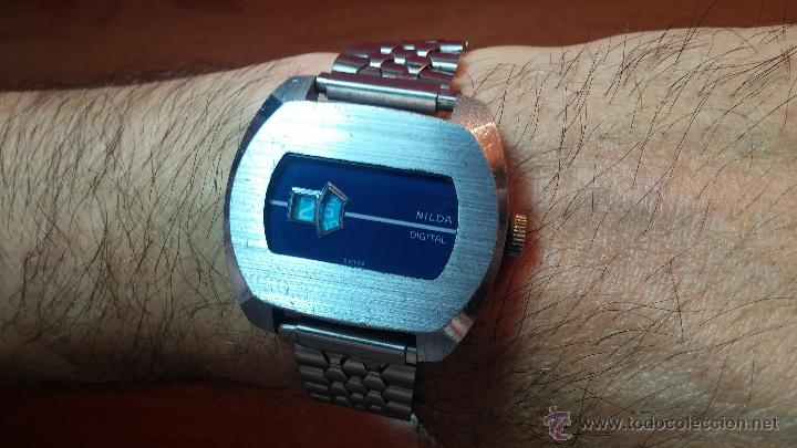 Relojes de pulsera: Reloj Suizo NILDA de cuerda DIGITAL, años 70, de los primeros digitales de carga manual - Foto 46 - 66126355
