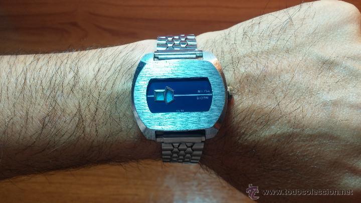 Relojes de pulsera: Reloj Suizo NILDA de cuerda DIGITAL, años 70, de los primeros digitales de carga manual - Foto 50 - 66126355