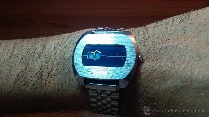 Relojes de pulsera: Reloj Suizo NILDA de cuerda DIGITAL, años 70, de los primeros digitales de carga manual - Foto 51 - 66126355