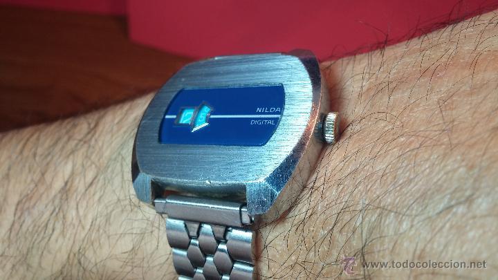 Relojes de pulsera: Reloj Suizo NILDA de cuerda DIGITAL, años 70, de los primeros digitales de carga manual - Foto 52 - 66126355