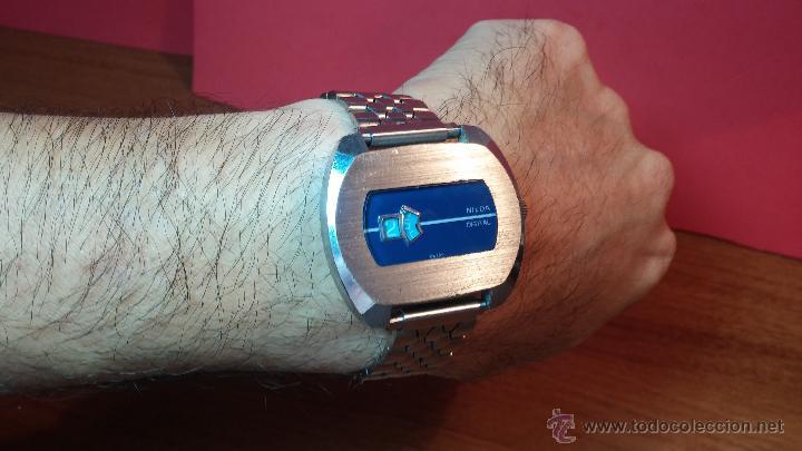 Relojes de pulsera: Reloj Suizo NILDA de cuerda DIGITAL, años 70, de los primeros digitales de carga manual - Foto 54 - 66126355